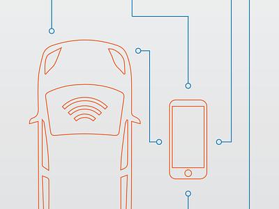 Connected Car Diagram connected car callouts technical vehicle orange blue line art