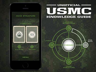 USMC Knowledge Guide App Design usmc app app design military camouflage marines engage night vision texture camo crosshairs education