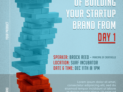 Branding Talk Event Flyer event flyer print texture grain jenga building your brand startups