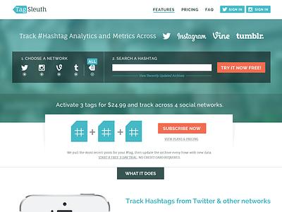 Tagsleuth Homepage web website web design homepage search hashtag analytics twitter instagram vine tumblr metrics