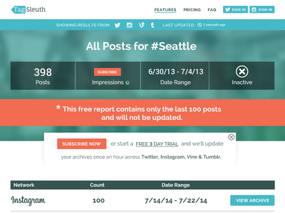 Tagsleuth All Results Page web website web design homepage search hashtag analytics twitter instagram vine tumblr metrics