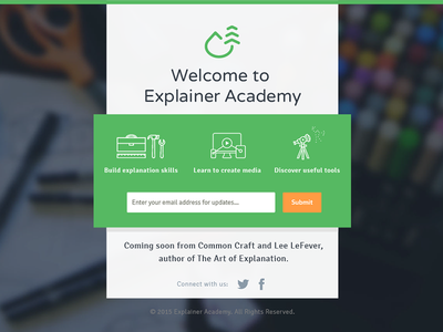 Explainer Academy Landing Page academy explanation icons green landing page lander website web