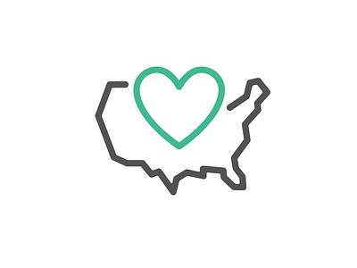50 States Apparel logo heart design branding icon logo apparel united states 50 states usa