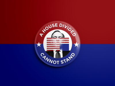 A House Divided stars flag usa house divided lincoln politics house of cards button frog button
