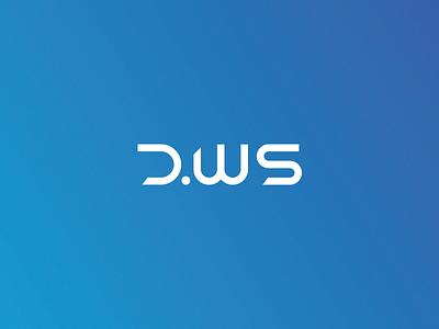 DWS blue future futuristic letters services web identity typography type wordmark logo