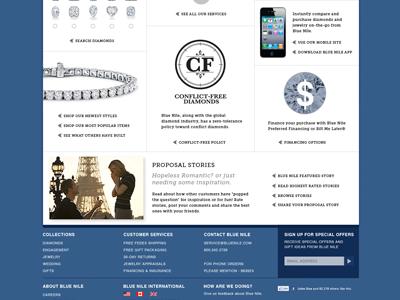 Blue Nile website redesign bottom half website design jewelry website blue nile online retailer e-commerce website