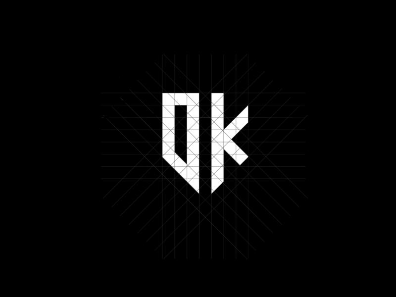 DK logo personal monogram minimal letter grid clean logo dk monogram logo