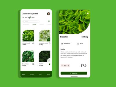 Vegetables Food App ecommerce app app design trendy app app
