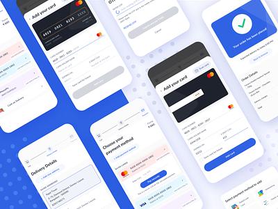 Concept Payment Checkout Flow screen mobile order success confirmation scan card otp credit debit add card ux design ux design app ui dribbble transaction