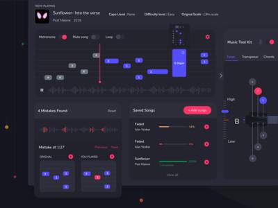 Concept Guitar Learning Platform dashboard note chord transposer tuner kit tool errors strings player design blue ux guitar music theme dark ui