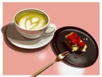 raspberry cheese cake & matcha latte