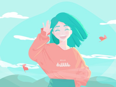 Hello dribbble vector illustration vector art hello dribbble uxui illustration shot debut