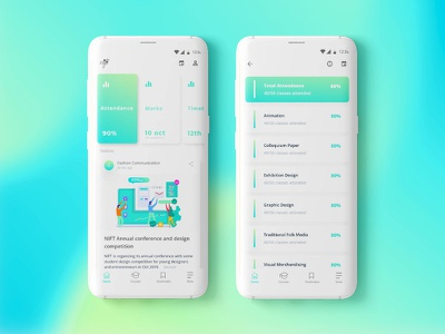 NIFT college app student interface android color attendance illustration redesign app design college uxui