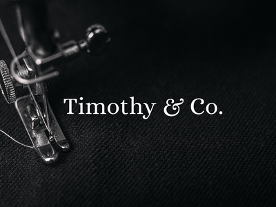 Timothy & Co. Branding black sewing tailored uk england london vector ampersand graphic designer typography tailor logo tailor brand designer for hire brand identity design graphic design logo branding brand identity logo design