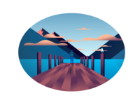 Bird on the pier, designed with Inkscape