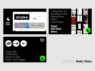 Webs.Video | Collection of excellent web interaction inspiration webflow landing page products keyframe motion design graphic motion collection web micro interaction interactions animation illustration website design recordings screenshots website