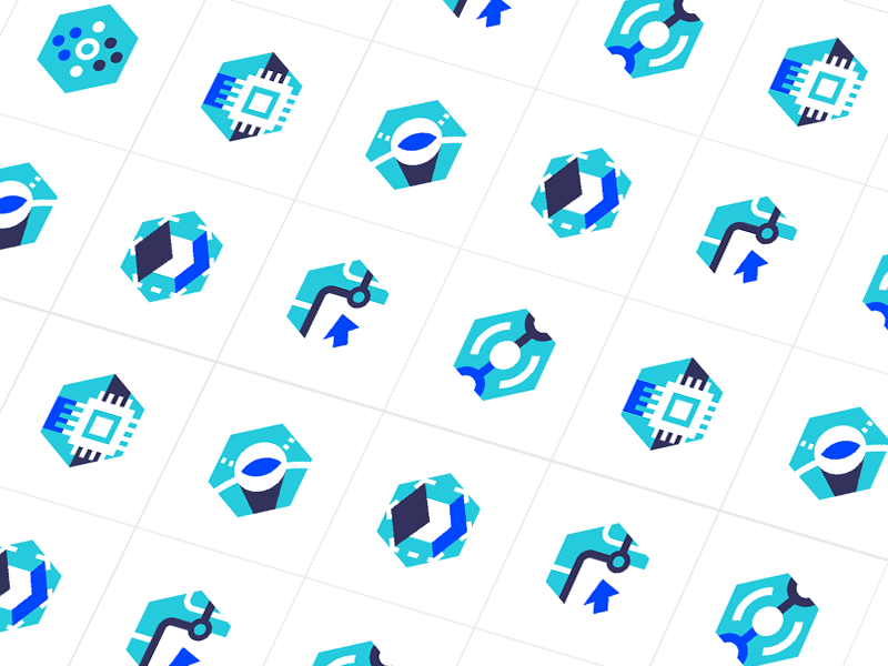 Icons for the SpinQ Landing Page geometry website landing page patterns graphics computing dots quantum logo science clean icon illustration technology blue web