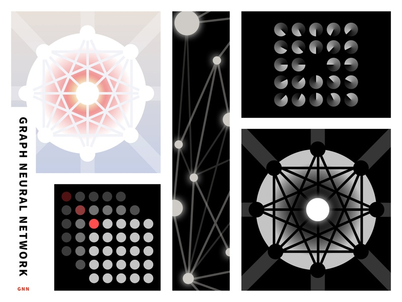 Graph Neural Network loop code graphic  design icon abstract geometry dots lines illustration technology graphic