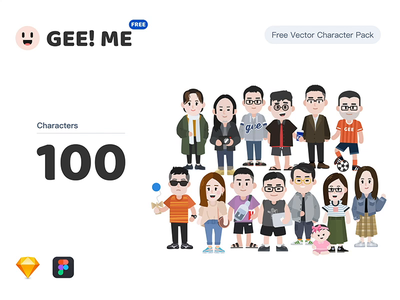 GEE! ME | Free Vector Character Pack clear download sketch figma illustraion free resource website cartoon people flat colorful pack vector character graphic