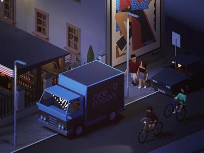Moonlight party illustration blender3d blender 3dart lowpolyart lowpoly