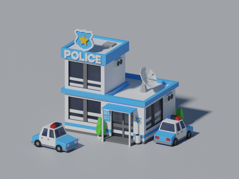 Lowpoly Police Station 3d police blender lowpoly