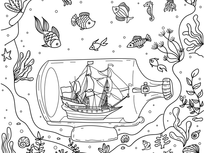 Sea and bottle underwater coloringbook coloring page underwater illustration