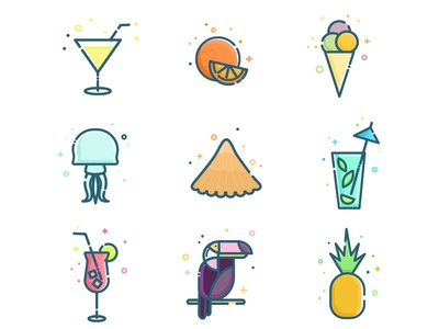 Exotic Set cocktails drinks travel icons exotic illustration