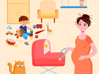 Worrying mom pregnant woman home kids mother family illustration
