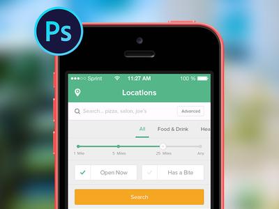 Restaurant App for iOS .psd