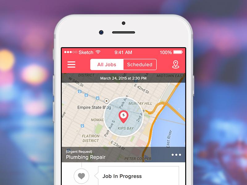 Plumbing App ios app plumbing service map ui ux