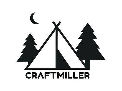 Craftmiller logo blackwhite miller craft forest moon capming design logo