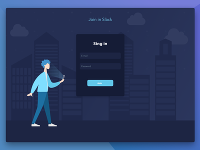 Chat Authorization ui enter dark form login singin design vector illustration slack