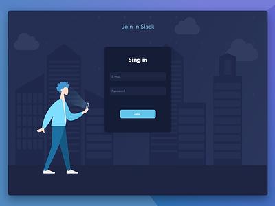 Chat Authorization ui enter dark form login singin design vector illustration slack
