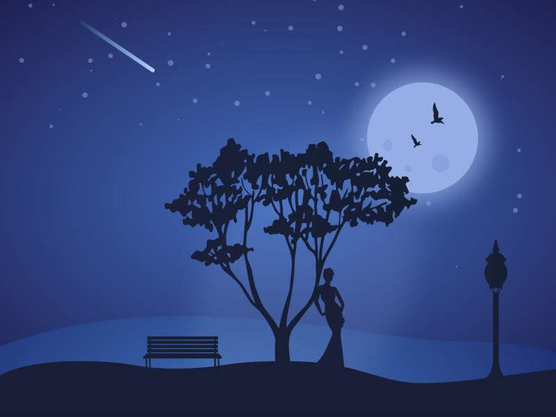 Bright Night star tree color women moon blue dark night adobe illustration illustrator