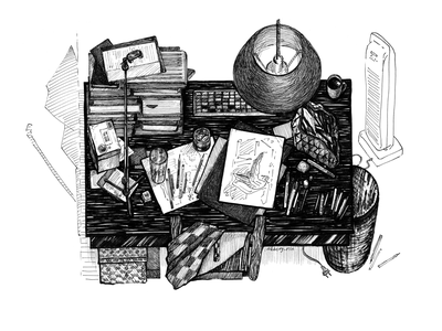 My working place, but flat lay books stock of books home illustrators place working table рабочее место лайнер маркер иллюстрация studio working place drawingart lamp table flat lay drawing challenge black and white drawing hand drawing illustration