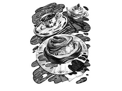 Bulochka, The Bread Monster dark art fantasy monster creature cluttery заварник чайник чашка иллюстрация хищник булочка хлеб tea party bread liner marker black and white drawing hand drawing illustration