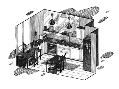 Kitchen isometry кухня иллюстрация изометрия квартира дом home illustration house illustration home working place mixed media marker liner pencil art isometry interior kitchen black and white drawing hand drawing illustration