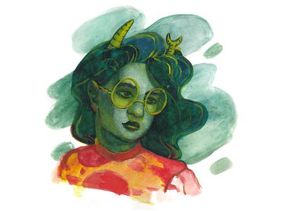 Homestuck fanart | фанарт Хоумстак акварель фанарт green horns glasses homestuck fanart traditional art watercolour drawing hand drawing illustration