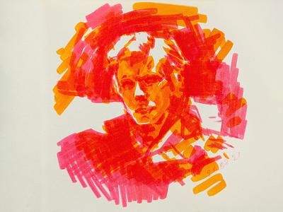 David Bowie fanart 2d marker drawing traditional art sketch fanart иллюстрация портрет portrait watercolour markers hand drawing illustration