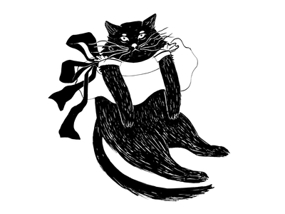 Fancy Cat cat drawing whiskers ribbon black black and white cat cat illustration hand drawing inktober2018 inktober ink drawing ink drawing challenge illustration drawing