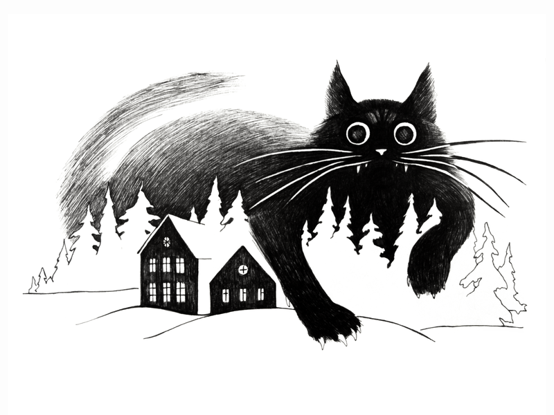 The Yule Cat traditional illustration winter scene creature beast monster black and white hand drawing cat drawing fineliner mythical creature folklore yule the yule cat black cat cat black traditional art drawing illustration