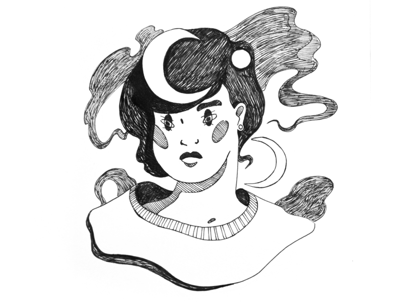 Moon Girl fineliner character witch witchy moon black and white drawing challenge hand drawing drawing illustration