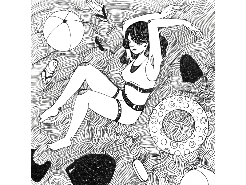 Flowing Mind waves curves flowing mind traditional art character body positive girl illustration girl character summer flowing flow swimming pool water fineliner lines black and white drawing challenge hand drawing drawing illustration