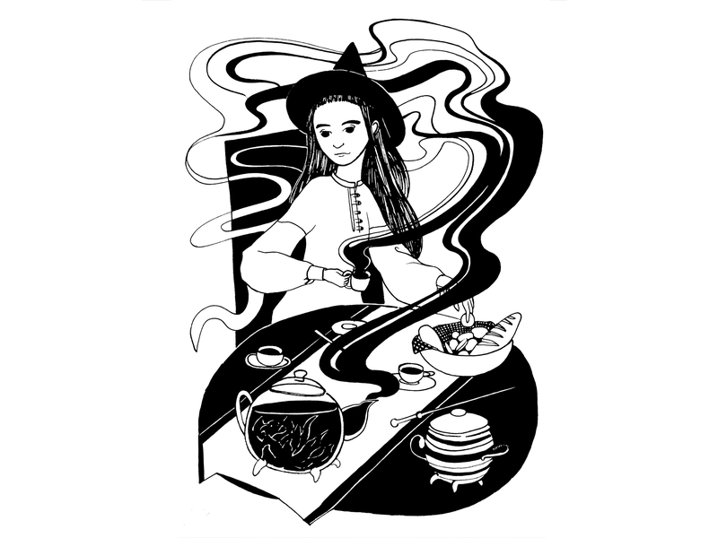 Tea Witch tea magic girl character character dip pen black drawing ink ink black and white drawing challenge hand drawing drawing illustration