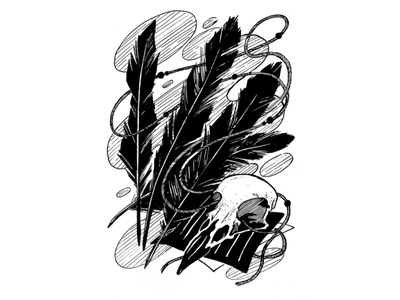 Coat, inktober 2019, day 27 raven feathers skull art инктобер inktober 2019 inktober ink drawing ink drawing challenge black and white drawing hand drawing illustration