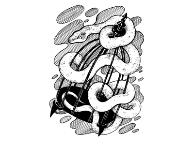 Catch, inktober 2019, day 30 cage white snake snake inktober 2019 inktober ink drawing ink drawing challenge black and white drawing hand drawing illustration