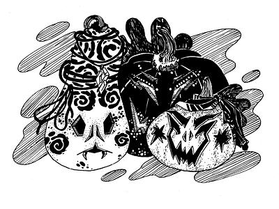 Misfit, inktober 2019, day 18 инктобер иллюстрация halloween plant character character pumpkin inktober 2019 inktober ink drawing ink drawing challenge black and white drawing hand drawing illustration
