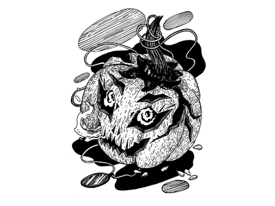 Ripe, inktober 2019, day 31 character design pumpkin character pumpkin carving halloween pumpkin инктобер inktober 2019 inktober ink drawing ink drawing challenge black and white drawing hand drawing illustration