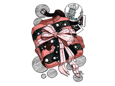 New Year plus Freddy Krueger fanart фанарт тушь акварель present new year crossover aquarelle иллюстрация nightmare on elm street nightmare freddy krueger fanart ink drawing hand drawing illustration