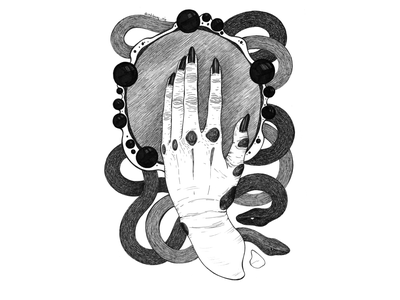 Left hand with mirror nails wrinkles snake art snake mirror hand liner black and white drawing hand drawing illustration